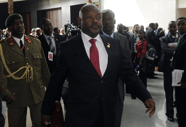 Burundian President Pierre Nkurunziza arrives for the second day of the 50th African Union Aniversary Summit in Addis Ababa on May 26, 2013, with Africa's myriad problems set aside for a day to mark the progress that has been made. AFP PHOTO/SIMON MAINA